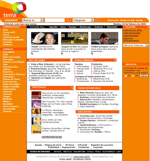 Buscadores de Internet de los 90: Terra 2000