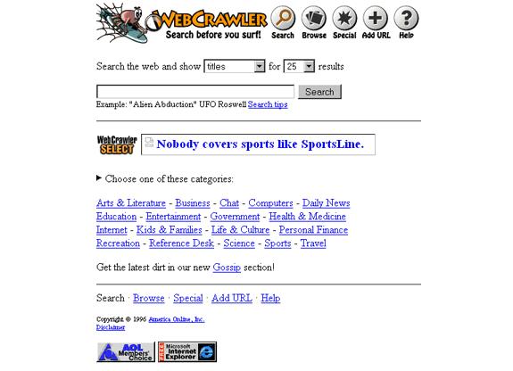 Buscadores de Internet de los 90: Webcrawler 1996