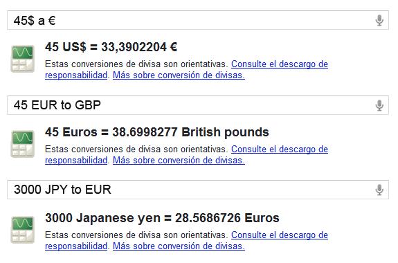 Conversor de divisas de Google