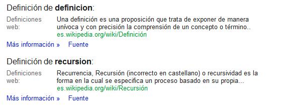 Google: Definiciones de diccionario (define:)