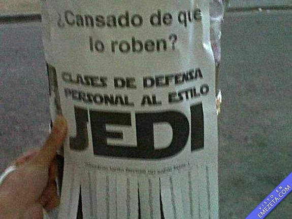 Carteles desconcertantes: Clases defensa jedi