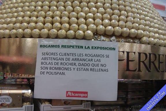 Carteles desconcertantes: No se coman los bombones Ferrero Rocher