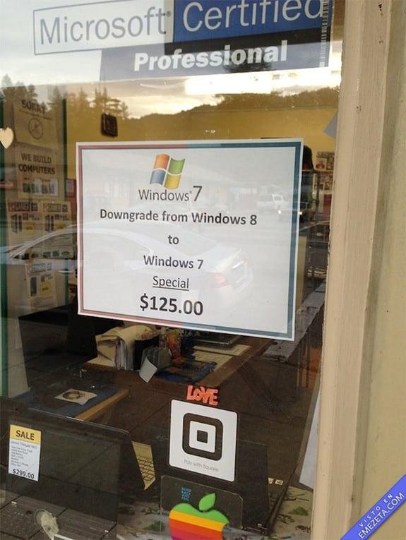 Carteles desconcertantes: Windows 8 a windows 7