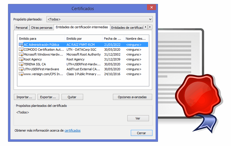 Almacén de certificados de Windows
