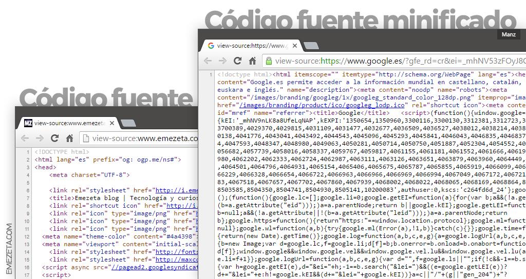 Código fuente minificado y sin minificar