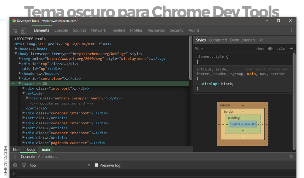 Tema oscuro para Chrome Developer Tools