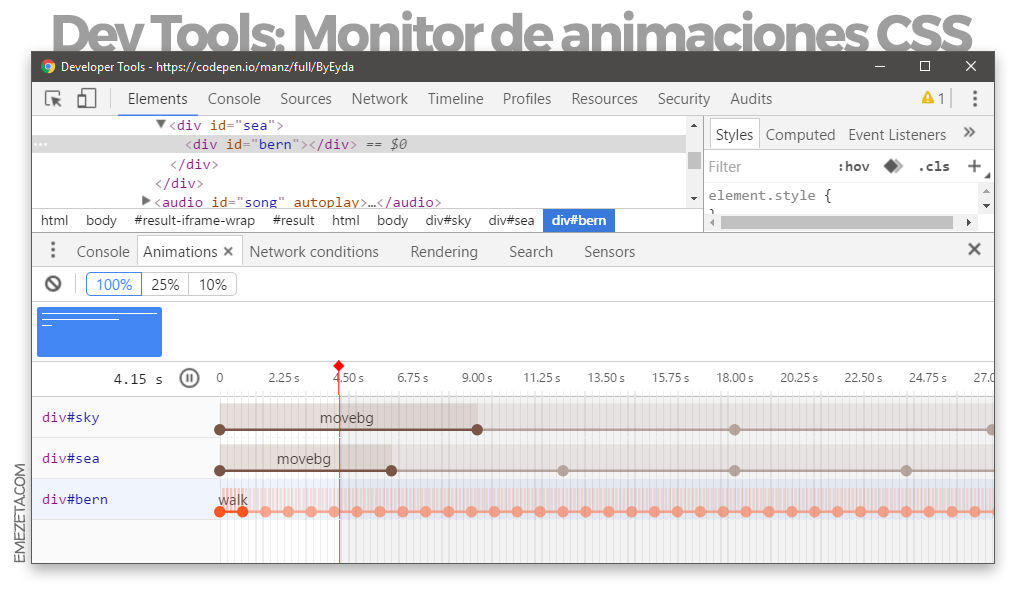 Gestor de animaciones CSS desde Chrome Dev Tools