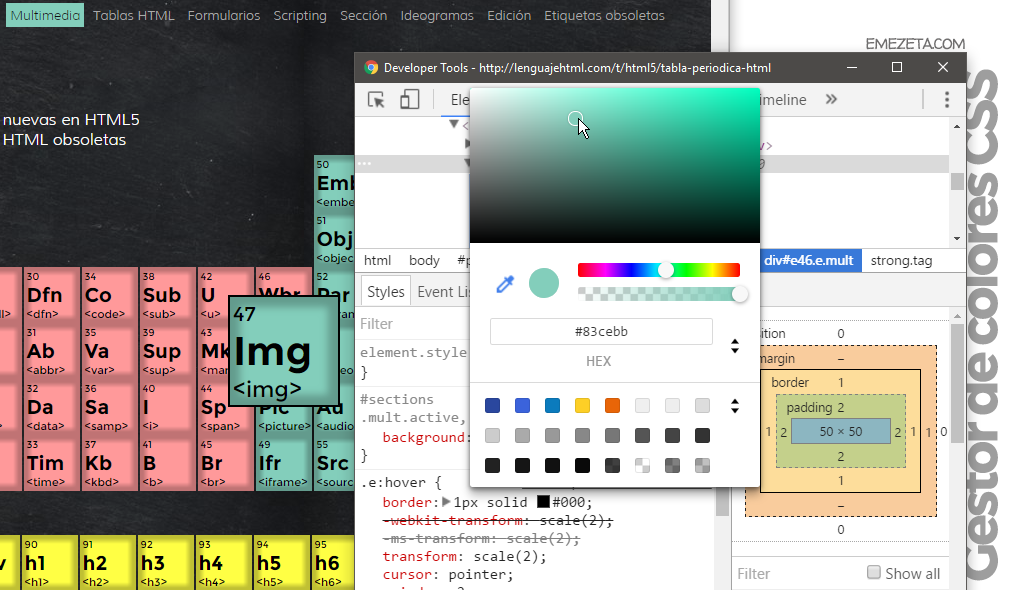 Color Picker de Chrome Dev Tools