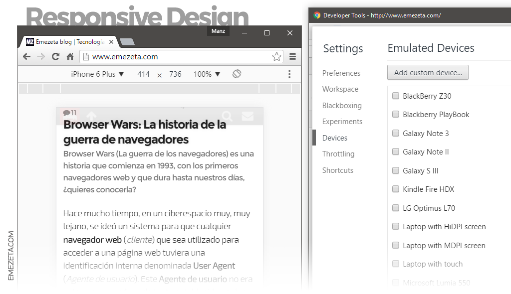 Responsive Web Design en Chrome Dev Tools