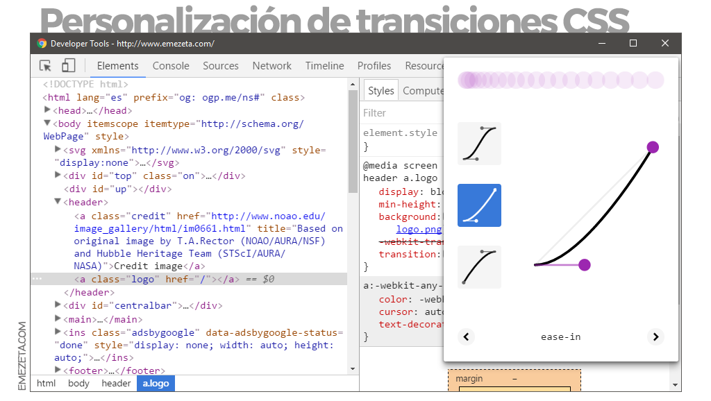Chrome Dev Tools: Transiciones