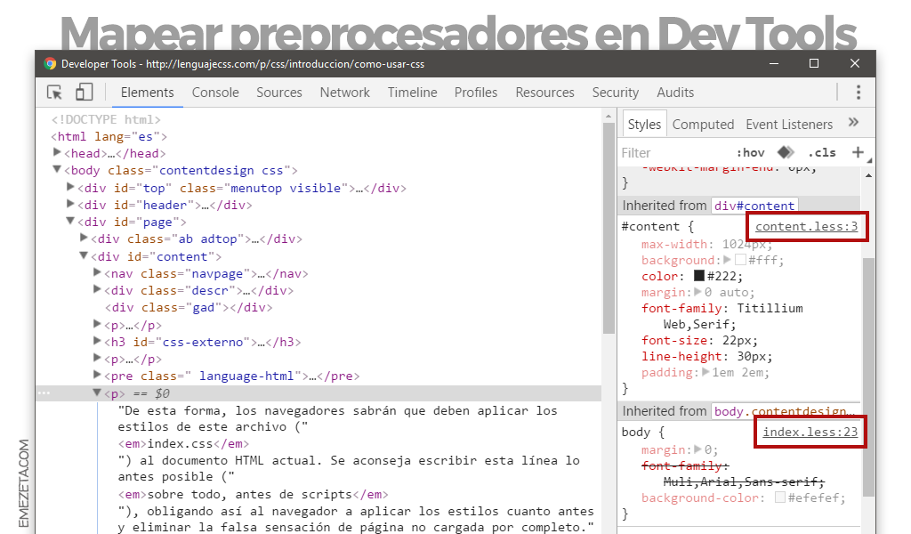 Preprocesadores LESS o SASS en Chrome Dev Tools