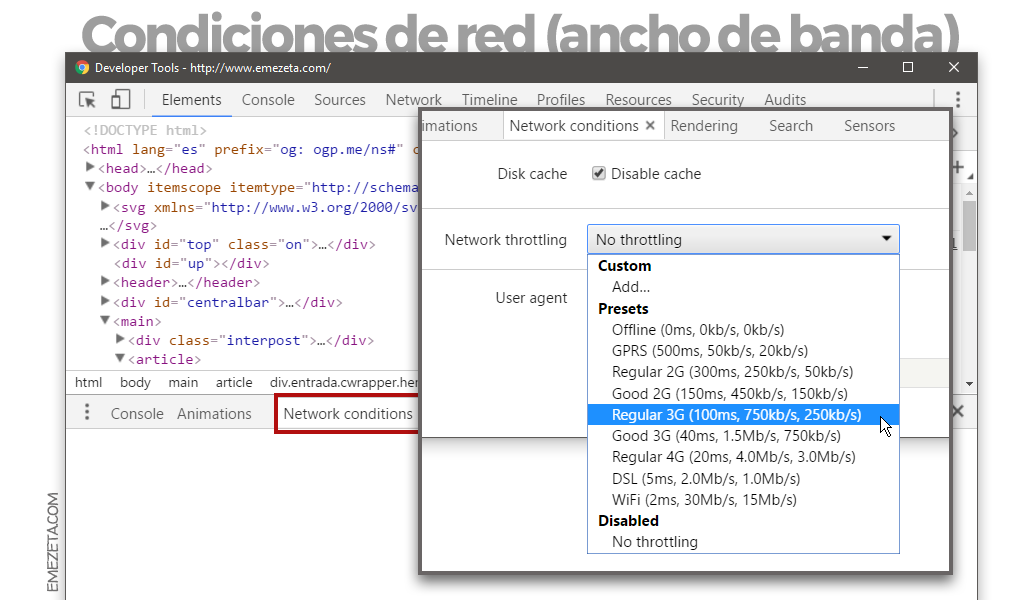 Emular conexión móvil en Chrome