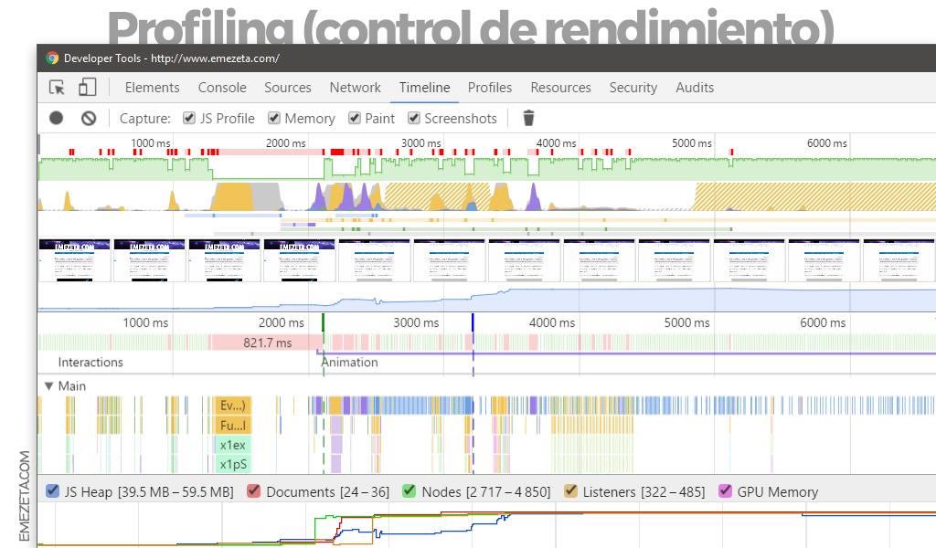 Profiling (Timeline tab) en Chrome Dev Tools