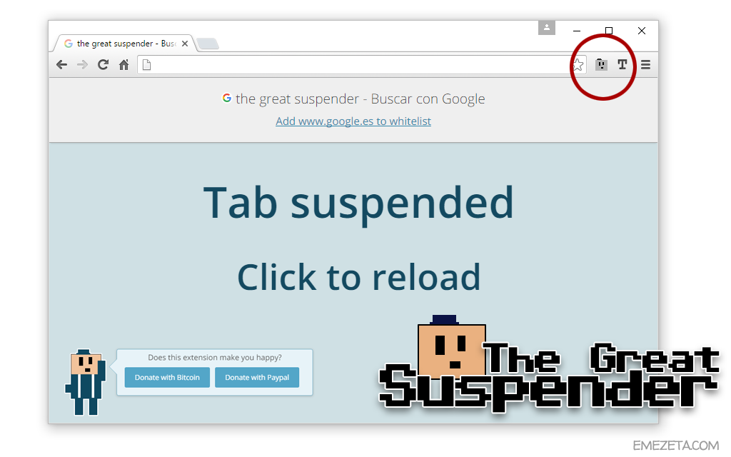 Extensión para Chrome: The Great Suspender