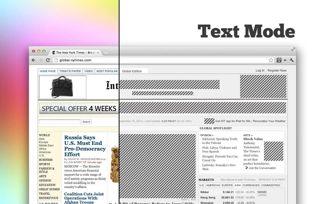 Convierte tu navegador en un periódico para centrarte en el texto