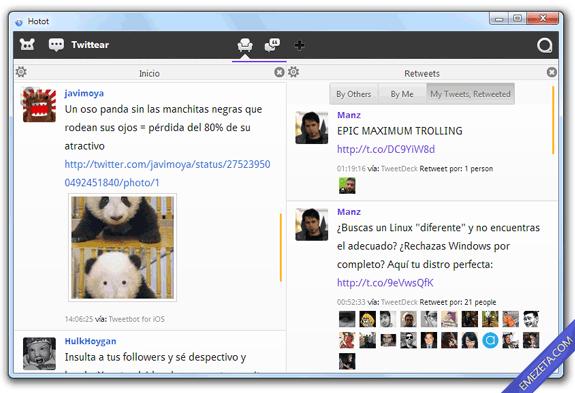 Clientes de escritorio para Twitter: Hotot