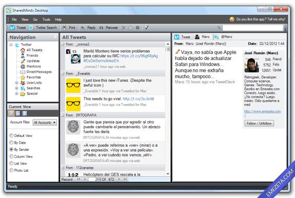 Clientes de escritorio para Twitter: SharedMinds Desktop