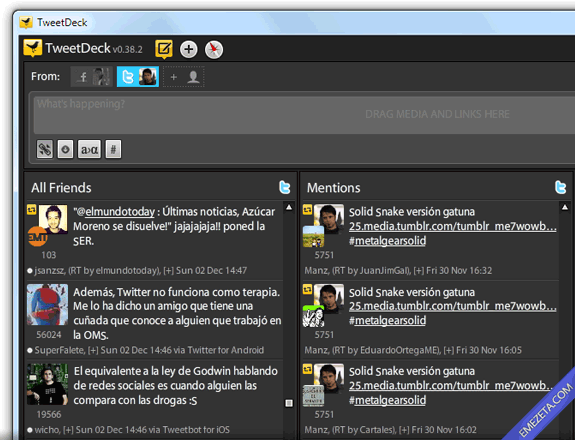 Clientes de escritorio para Twitter: TweetDeck Classic