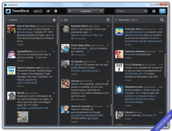 Clientes de escritorio para Twitter: TweetDeck