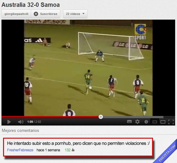 Comentarios de youtube: Australia samoa