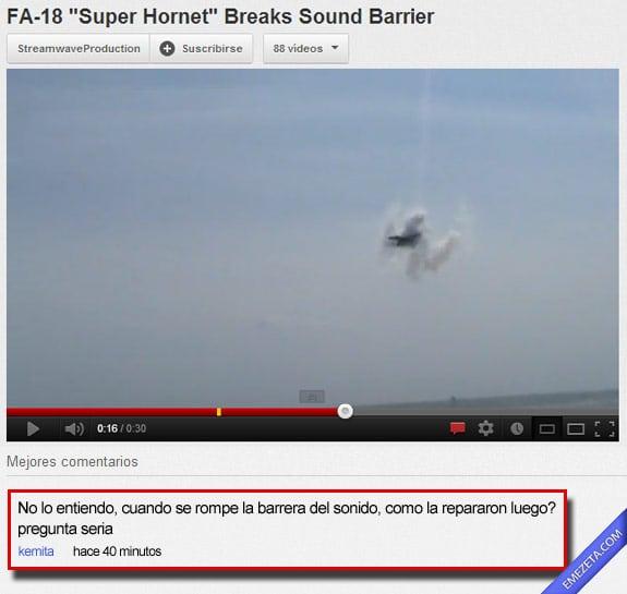 Comentarios de youtube: Barrera sonido