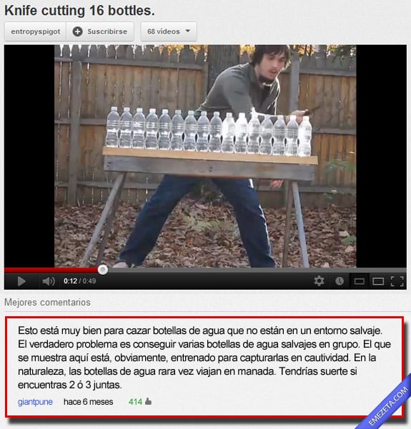 Comentarios de youtube: Botellas agua