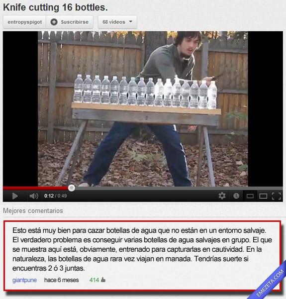 Comentarios de youtube: Botellas agua