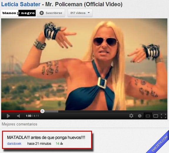 Comentarios de youtube: Leticia sabater