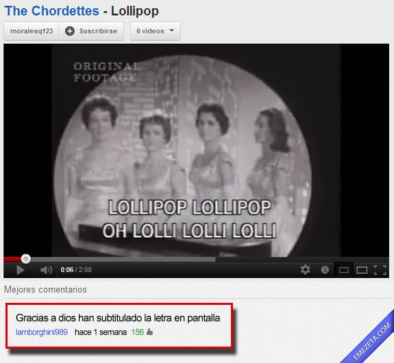Comentarios de youtube: Lollipop