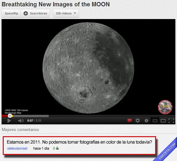 Comentarios de youtube: Luna a color