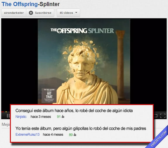 Comentarios de Youtube: Album robado