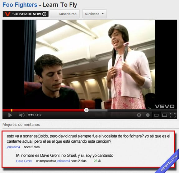Comentarios de Youtube: Dave grohl