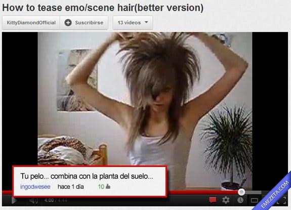 Comentarios de Youtube: Emo planta