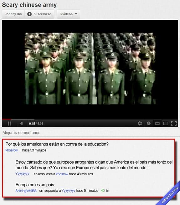 Comentarios de Youtube: Europa pais