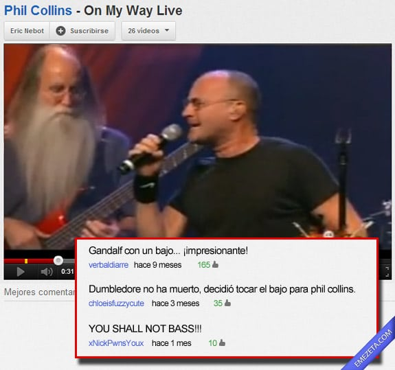 Comentarios de Youtube: Gandalf on bass