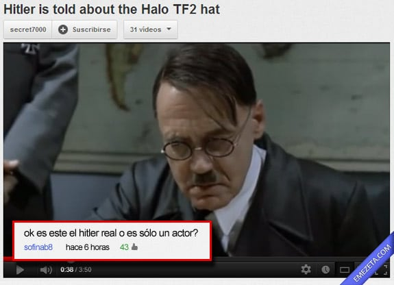 Comentarios de Youtube: Hitler actor