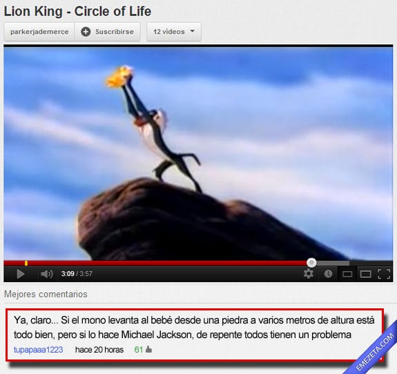 Comentarios de Youtube: Michael jackson rey leon
