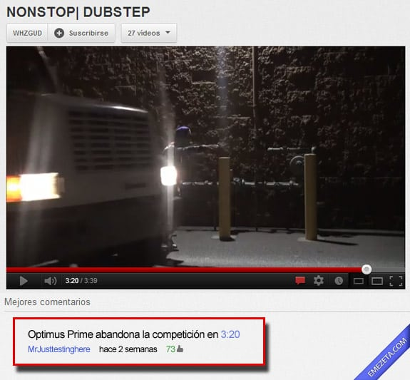 Comentarios de Youtube: Optimus prime abandona