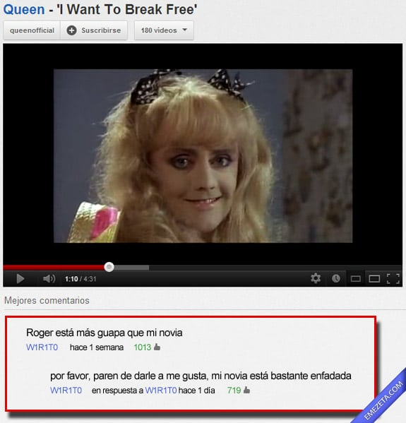 Comentarios de Youtube: Roger queen