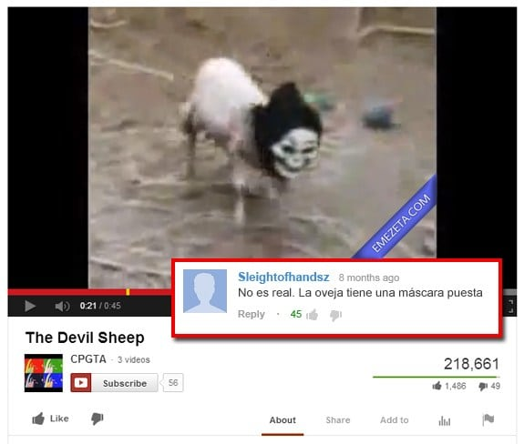Comentarios de Youtube: Devil sheep