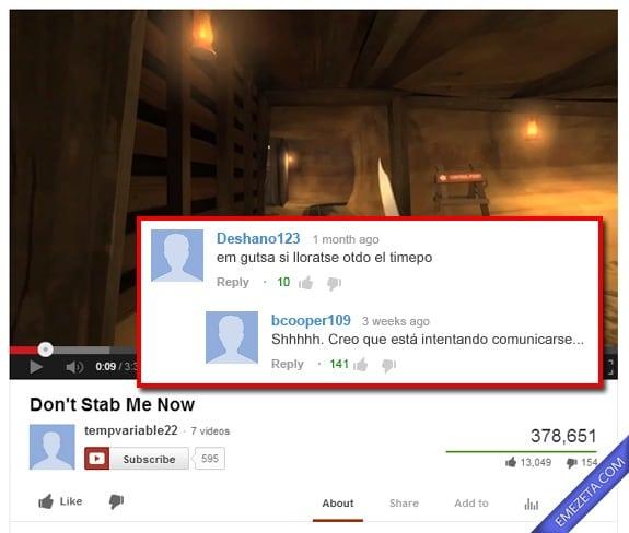 Comentarios de Youtube: Em gutsa