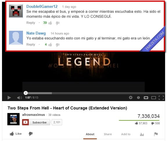 Comentarios de Youtube: Heart of courage