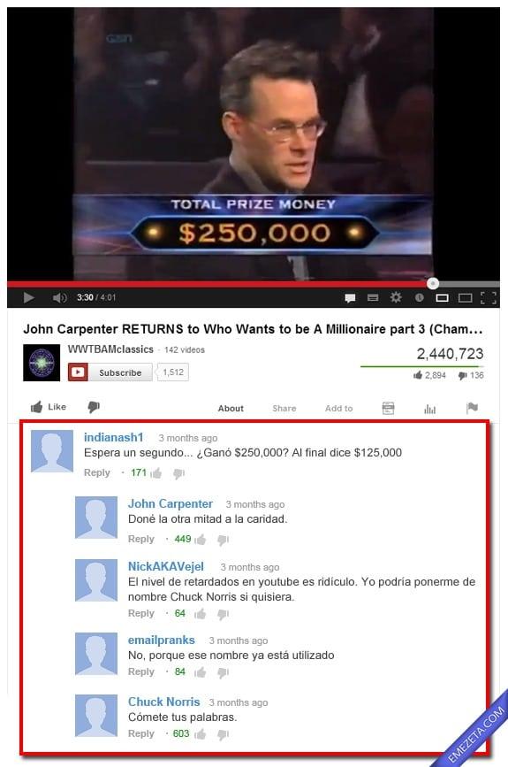 Comentarios de Youtube: John carpenter