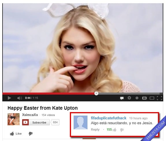 Comentarios de Youtube: Kate upton jesus