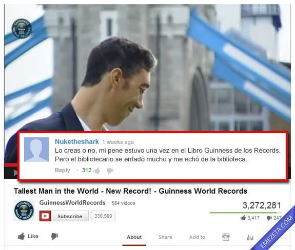 Comentarios de Youtube: Libro guinness records