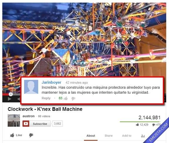 Comentarios de Youtube: Maquina protectora