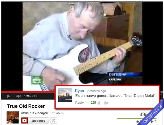 Comentarios de Youtube: Near death metal