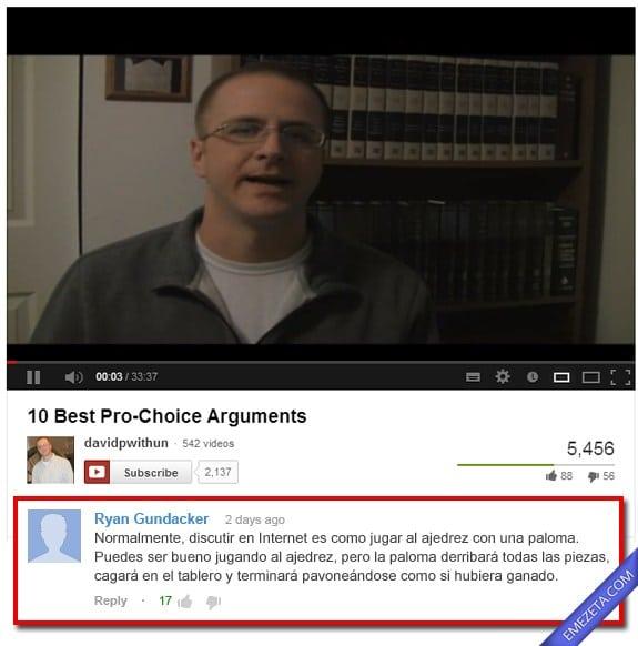 Comentarios de Youtube: Paloma ajedrez