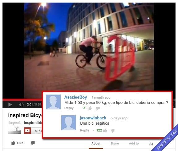 Comentarios de Youtube: Tipo de bici