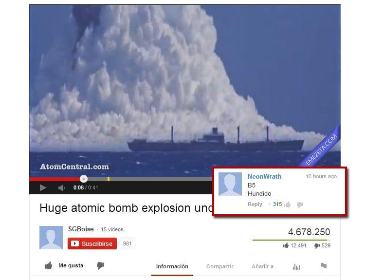 Bomba atómica: B5, ¡Hundido!